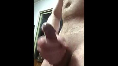 Horny stroking my hard cock till I blow a big load of cum