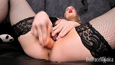 Dildo fuck with clit pump, squirt, Bad Dragon