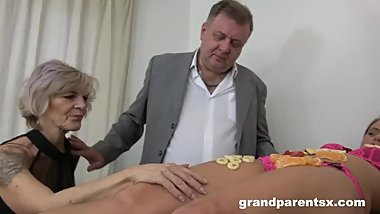 Teen Fucks Old Couple Like in the Good Ol' Days