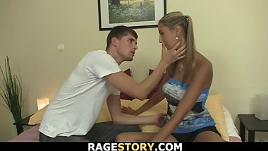 Big-cocked dude fucks busty ponytailed blonde rough