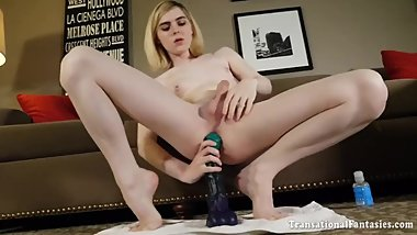 Teen Ella riding a horsecock dildo, showig her sexy feet and hard cock