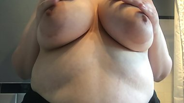 playing with my tits and moaning