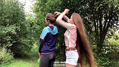 Russian Friends Doing Everything in Nature with Super Soft Long Hair