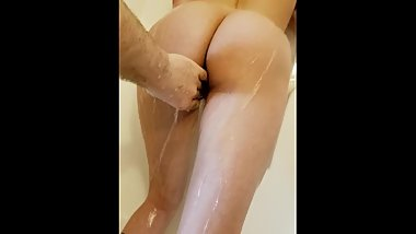 Sensitive pussy play in shower