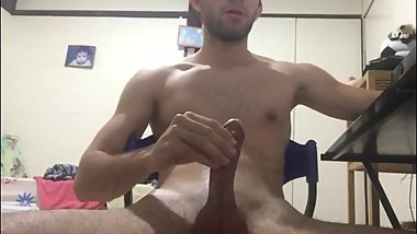 Young guy masturbating and cum on the camera