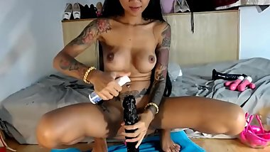 MISTRESSMIX - Bizzare asian squrting huge dildo inside anal hole