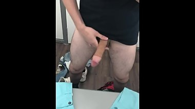 Jerking my big cock in walmart