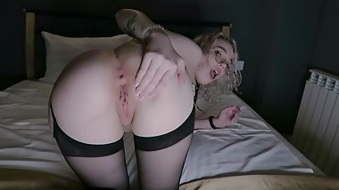 Doggystyle Nerdy Slut Fingering Big Booty In Stockings
