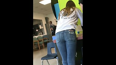 teen with perfect ass in jeans caught on hidden camera