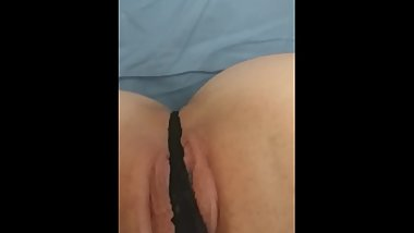 Pantie play in bed with soaking wet pussy