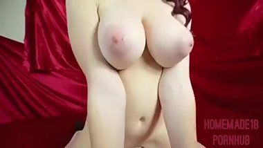 Girl with huge tits and redhair gets fucked pov