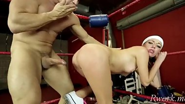 Beguiling brunette Stella Daniels and agile stud