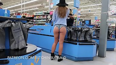Candid teen booty shorts in walmart