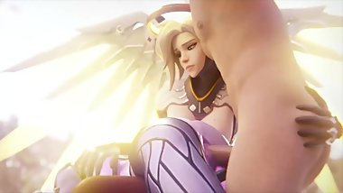 Widowmaker x Mercy Lesbian Finger Fucked NEW Sex Game