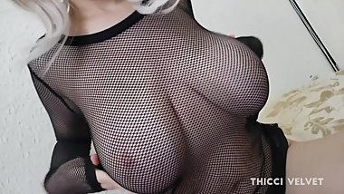 Thicci has an orgasm and swallows and load while giving a nice footjob