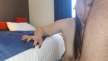 Morning sex - breakfast with one big cock and two shaved balls