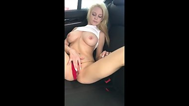 Young blonde Sammy James gets naked in the back of the car