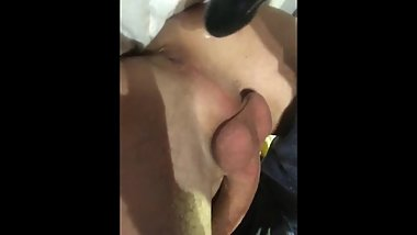 I fuck my tight virgin hole with a black dildo