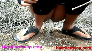 HD Heather Deep explores trail in jungle and get creamthroat in abandoned
