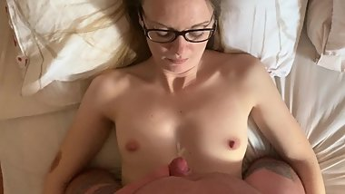 StepBrother cums over his stepsister small chest